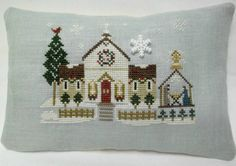 Town Church With Nativity Cross Stitched Mini by luvinstitchin4u