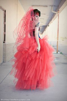 Lydia styled red romantic tutu skirt prom formal floor length --Sisters of the Moon. via Etsy.
