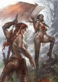 """Lucio Parrillo's painterly style makes a perfect variant for VAMPIRELLA/RED SONJA Get this high-end, """"Virgin"""" variant of his extraordinary cover to celebrate this iconic team-up of Dynamite's famed heroines! Frank Frazetta, Fantasy Drawings, Fantasy Artwork, Dark Fantasy Art, Fantasy Girl, Fantasy Women, Miss Hulk, Character Art, Character Design"""