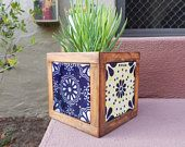 Wood and tile creations. Handmade in San Diego. by HighTideTileStudio Spanish Mexican Talavera Tile and Wood Flower Pot Mexican Patio, Mexican Garden, Spanish Garden, Cute Crafts, Diy And Crafts, Arts And Crafts, Tile Projects, Craft Projects, Ceramic Tile Crafts