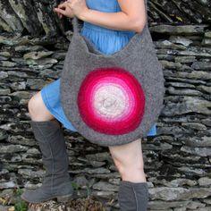 Pink Bag. Wet Felted Bag. Large Handmade Felt by HandiCraftKate