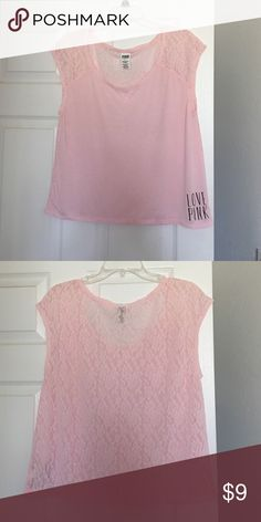 VS PINK/Aero/Mossimo Bundle Lace back t-shirt in a pale pink, size small.  Worn once.  Aeropostale white tee with hot pink logo and stitching, worn twice, size small.  And blue Mossimo braided strap tank, worn once, Size XS.  From clean smoke free home. PINK Victoria's Secret Tops Tees - Short Sleeve