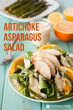Healthy artichoke and asparagus chicken salad recipe {paleo, clean eating, gluten free, dairy free, Paleo Chicken Salad, Paleo Chicken Recipes, Vegetarian Recipes, Healthy Recipes, Healthy Meals, Healthy Eating, Primal Recipes, Paleo Meals, Chicken Meals