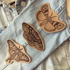 Add these beautiful vegan leather patches to your denim jacket for instant rocker chic style. The patch set features three tattoo style moths.
