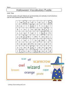Easy Halloween Word Search Halloween Vocabulary, Halloween Puzzles, Thanksgiving Word Search, Thanksgiving Words, Vocabulary Building, Problem Solving Skills, Ell, Early Learning, Homeschool