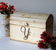 Monogrammed rustic wedding card box..