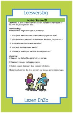Leesverslag na het lezen Dutch Language, Kids Education, Book Lovers, Spelling, Classroom, Teaching, Writing, Interview, Words