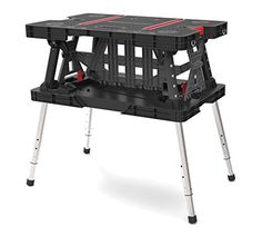 Keter 217679 Adjustable Leg Folding Work Table Busy hobbyists, construction workers and DIY enthusiasts need a sturdy work surface that can stand up to a Adjustable Sawhorse, Adjustable Legs, Portable Workbench, Folding Workbench, Workbench Table, Garage Workbench, Keter Folding Work Table, Folding Tables, Saw Horse Table