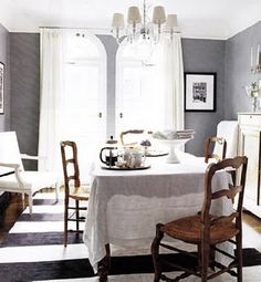 love the grey walls with the white.