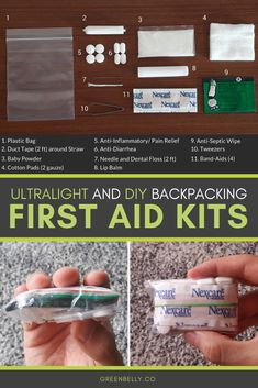 Treat common injuries and illnesses with DIY items from around the house. This ultralight backpacking first aid kit is what I hiked with on the Appalachian Trail. #ultralight #firstaidkit #backpacking #hiking #thruhiking