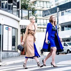 "- ""Elegance is not about being noticed, it is about being remembered."" @abbierosebolton_ & @kylanichole14 turning heads in The Brace Coat + Empire Giomm Tailored Dress teamed with the Empire Giomm Cape. Tap for creative team 💙. -"