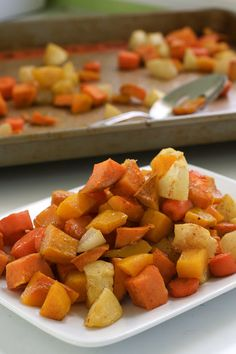 Roasted and Spiced Autumn Vegetables | Butternut squash, sweet potato, carrot, apple, pear, cinnamon, allspice, nutmeg | Paleo