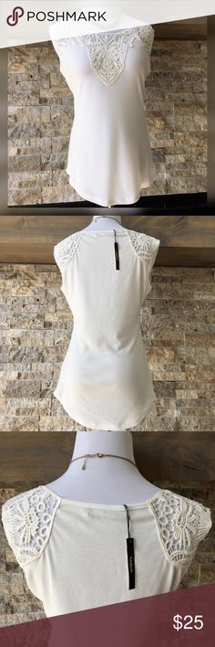 "PattyBoutik Lace Sleeveless Camisole Tank Top Beautiful off white Top. Can be dressed up or down. New with tags 95% polyester 5% cotton Lace 100% cotton Hand wash cold  Measures: Bust 35"" Length shoulder to bottom hem 25.5"" PattyBoutik Tops Tank Tops"