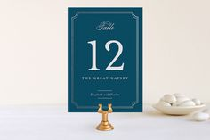 Classy Type Foil-Pressed Wedding Table Numbers by Kimberly FitzSimons at minted.com