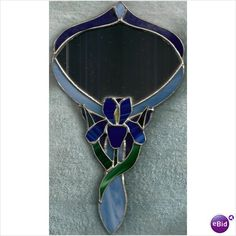Lovely Blue Tiffany Style Stained Glass Tulip Handheld & Hanging Mirror Listing in the Mirrors,Decorative,Home & Garden Category on eBid United States