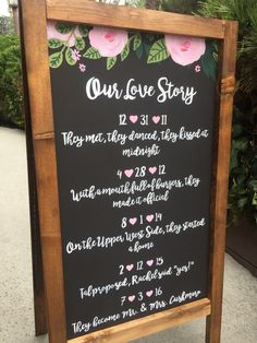 Our Love Story Chakboard Sign Rustic Wedding by heartandhandshop