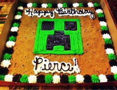 Surprised a 9 year old with a Minecraft cookie cake for his Birthday. Success! - Imgur
