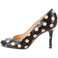 Pre-owned Kate Spade New York Polka Dot Round-Toe Pumps (€61) ❤ liked on Polyvore featuring shoes, pumps, black, polka dot shoes, black shoes, patent leather pumps, round cap and black patent shoes