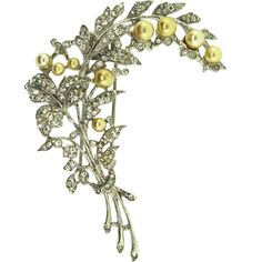 Vtg Philippe TRIFARI Pave Rhinestone Pearl Figural Rhodium FUR CLIP Brooch Pin