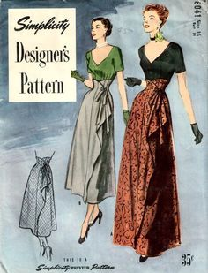 "1950s - Simplicity Designer #8041  Vintage Evening Skirt & Top Pattern -   b34"" 38.5+4 3bds 10/24/14"