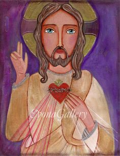 Folk Art  Painting, Icon of The Sacred Heart of Jesus, Print  (8 x 10 inches), Mixed Media, Wall Decore by Evona