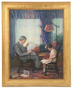 Father and Daughter Reading in the Parlor. Oil on canvas, unsigned, in vintage gilt molded panel frame.