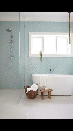 Herringbone tile pattern in light blue on modern bathroom wall. Family Bathroom, Laundry In Bathroom, Master Bathroom, Bathroom For Kids, Bathroom With Shower And Bath, Shower Rooms, Bad Inspiration, Bathroom Inspiration, Bathroom Renos