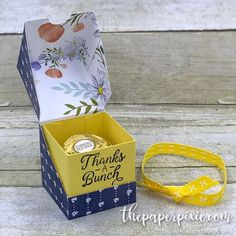 Today's project is a super cute diagonal-lidded cube box that perfectly holds . Today's project is a super cute diagonal-lidded cube box that perfectly holds a Ferrero Rocher! 3d Paper Crafts, Paper Gifts, Envelope Punch Board Stampin Up, Pretty Box, Explosion Box, Diy Box, Little Gifts, Craft Gifts, Cube