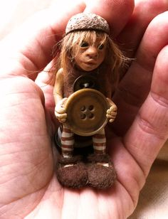 The button thief polymer clay art doll reserved by feythcrafts, $60.00