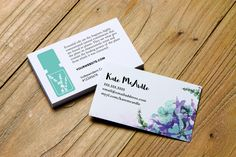 Watercolor flowers business card design. Personalized for Essential Oil distributors. Use your Young Living logo, doTerra or no logo. #business #networking