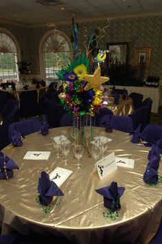 Mardi Gras table decor. O'Brien Productions 770-422-7200 Mardi Gras Centerpieces, Mardi Gras Decorations, Ball Decorations, Masquerade Prom, Mardi Gras Party, Sweet 16 Parties, Party Themes, Party Ideas, Baby Party
