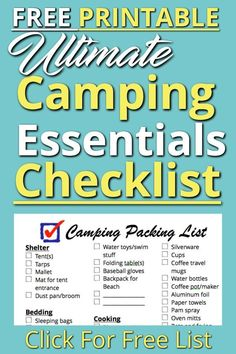 camp checklist This essential camping checklist is used every time we head out on an adventure. This free camping checklist is how we are able to get ready FAST! Get this free pdf printable here. Camping Hacks, Camping Packing, Camping Activities, Camping Essentials, Packing Lists, Camping Outfits, Camping Stuff, Camping Items, Camping Supplies