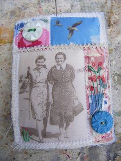 journal cover, brooch, quilted art
