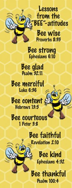 BEE-attitudes - Christian Bookmarks for Children - Title: Lessons from the Bee-Atitudes Bookmark 25 Pack data-pin-do= The Effective Pictures We Offer - Bible Object Lessons, Bible Lessons For Kids, Bible For Kids, Bible Topics, Church Activities, Bible Activities, Group Activities, Sunday School Lessons, Sunday School Crafts