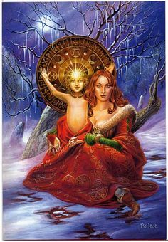 """Child of Promise Greeting Card - Crowned with the light of the winter sun on his brow, the young God stands within his Mother's arms, promising that light and warmth will return to the world after winter's chill. Card measures 8"""" by 5 1/2"""""""