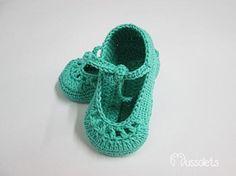 zapatos de bebé en ganchillo  algodón perlé ganchillo artesanal