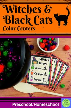 These Witches & Black Cats Color Centers are the perfect addition for learning your colors. These activities are engaging with their vibrant pictures and content! Your 2-6 year old kids will enjoy learning about the Halloween and learning their colors with this time saving resource Preschool Halloween, Halloween Witches, Halloween Activities, Morning Activities, Cat Activity, Cat Colors, Time Saving, Black Cats, Vibrant