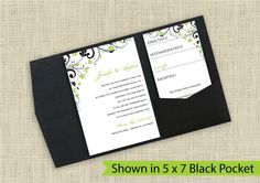 DIYWeddingTemplates.com - DiY Printable Pocket Wedding Invitations | Chic Bouquet (Black
