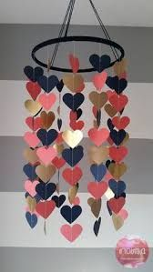 Heart shape paper mobile Navy coral and gold Baby room decoration Wedding decora. - Heart shape paper mobile Navy coral and gold Baby room decoration Wedding decoration Baby shower Ch - Kids Crafts, Diy And Crafts, Paper Crafts, Crafts For Teens To Make, Summer Crafts, Coral Y Oro, Coral And Gold, Navy Gold, Diy Décoration