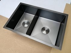 Burnished stainless steel double kitchen sink hand made 3 mm thick top mount Soundproofing Material, Double Kitchen Sink, Stainless Steel Bowl, Sink Taps, Sound Proofing, Stark, Halter, Cleaning, Ebay