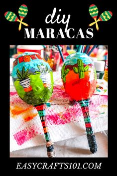 Make your own maracas! These are so cute (and they make noise when you shake them). Grapefruit Margarita Recipe, Margarita Recipes, Brownie Sundae, Peanut Butter Granola, Hot Cross Buns, Elizabeth Craft, Easy Crafts For Kids, Simple Crafts, Cinco De Mayo