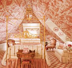 Grab the attic as your own space! Toile attic bedroom - Architectural and Interior Design by Marshall Watson and Holmes Easley