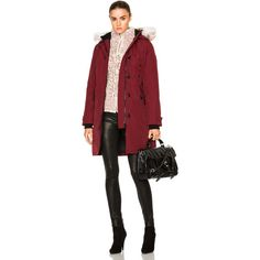 Canada Goose Kensington Parka with Coyote Fur (1,195 CAD) ❤ liked on Polyvore featuring outerwear, coats, coats & jackets, red coat, padded parka, parka coat, canada goose parka and canada goose