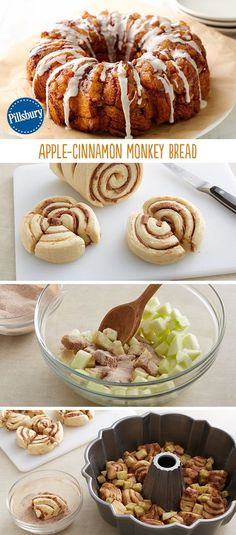 This monkey bread recipe is to die for! The best combination of apple and cinnamon will melt their taste buds. Total comfort food, yet surprisingly light. It's always a huge hit around the holidays. Serve the next morning after Thanksgiving and Christmas when you have guests in town.: