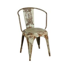 A classic cafe chair gets a dose of modernity in a rustic, weathered-through-the-years finish. Indoors or out, this simple silhouette will feel bold and exciting in any space. A steel frame with a slat...  Find the O'Leary Distressed Armchair, as seen in the Utilitarian Style Collection at http://dotandbo.com/collections/utilitarian-style?utm_source=pinterest&utm_medium=organic&db_sku=113771