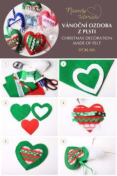Návod na výrobu vánoční ozdoby z plsti. / Christmas decoration made of felt. Christmas Decorations, Christmas Ornaments, Holiday Decor, Free Tutorials, Diy, Feltro, Bricolage, Christmas Jewelry, Do It Yourself