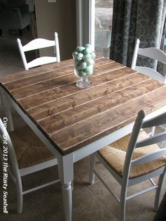 big projects revamp our square table to this - Primitive Kitchen Tables