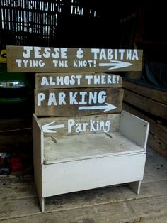 Couldn't stand to throw away the signs from my wedding...made them into the back for a flea market storage bench I found
