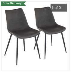Classically refined with a touch of industrial brawn, the Durango Dining Chair by LumiSource will be a stylish addition to your dining or seating area. Featuring vintage faux leather upholstery with zig-zag stitching and black metal tapered legs. Grey Dining Room Chairs, Faux Leather Dining Chairs, Industrial Dining Chairs, Modern Dining Chairs, Upholstered Dining Chairs, Dining Chair Set, Side Chairs, Eames Chairs, Chair Upholstery