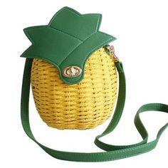 Tonwhar Lady's Girls' Cute Pineapple Summer Straw Woven Bag